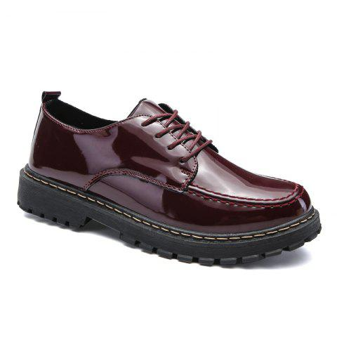 Men Shining Upper Casual Leather Shoes - WINE RED 42