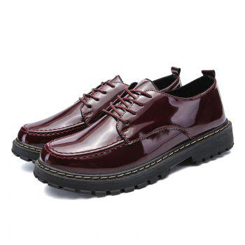 Men Shining Upper Casual Leather Shoes - WINE RED WINE RED