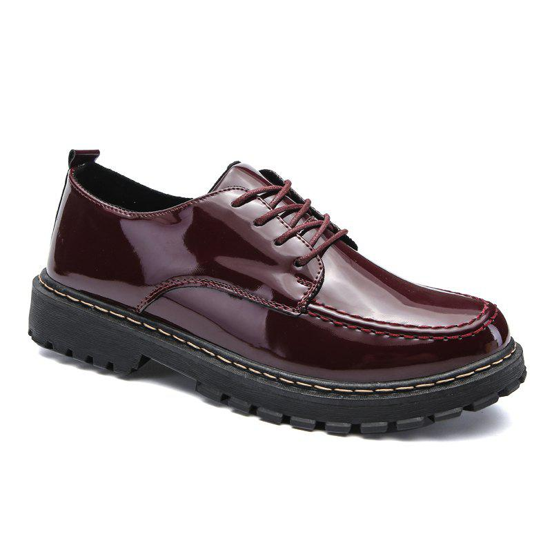 Men Shining Upper Casual Leather Shoes - WINE RED 43