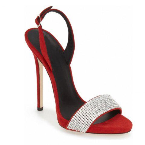 Femmes Chaussures Boucle Sangle Robe Stiletto Heel Sparkling Glitter Sandales - Rouge 37