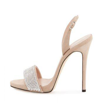 Women Shoes Buckle Strap Dress Stiletto Heel Sparkling Glitter Sandals - BEIGE BEIGE