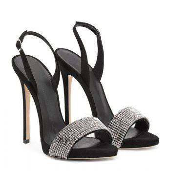 Women Shoes Buckle Strap Dress Stiletto Heel Sparkling Glitter Sandals - BLACK BLACK
