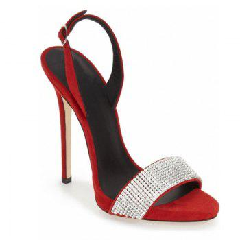 Women Shoes Buckle Strap Dress Stiletto Heel Sparkling Glitter Sandals - RED RED