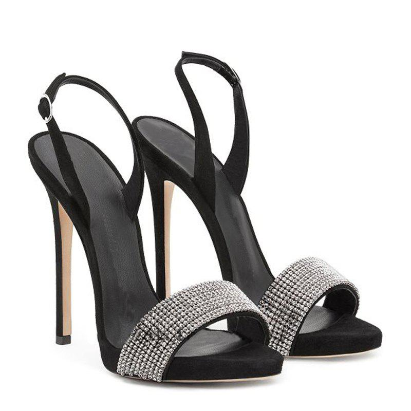 Women Shoes Buckle Strap Dress Stiletto Heel Sparkling Glitter Sandals - BLACK 38