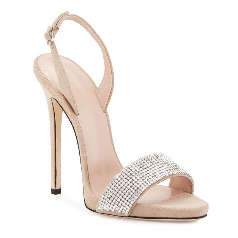 Women Shoes Buckle Strap Dress Stiletto Heel Sparkling Glitter Sandals - BEIGE 38