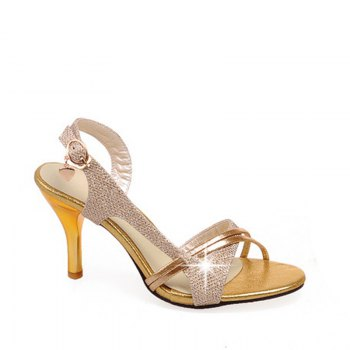 Women Shoes Buckle Strap Dress Elegant Patch Sandals - GOLDEN GOLDEN