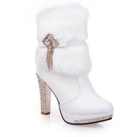 OMQ-828-1 Plus Short Tube Metal Decorative Fashion Cashmere Female Plush Diamond Thick Heeled Martin Boots - WHITE 38