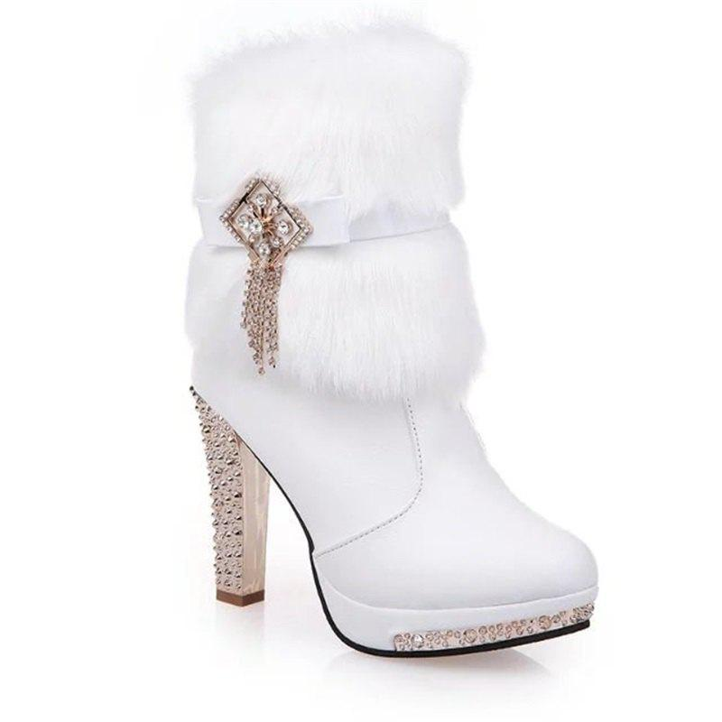 OMQ-828-1 Plus Short Tube Metal Decorative Fashion Cashmere Female Plush Diamond Thick Heeled Boots - WHITE 38