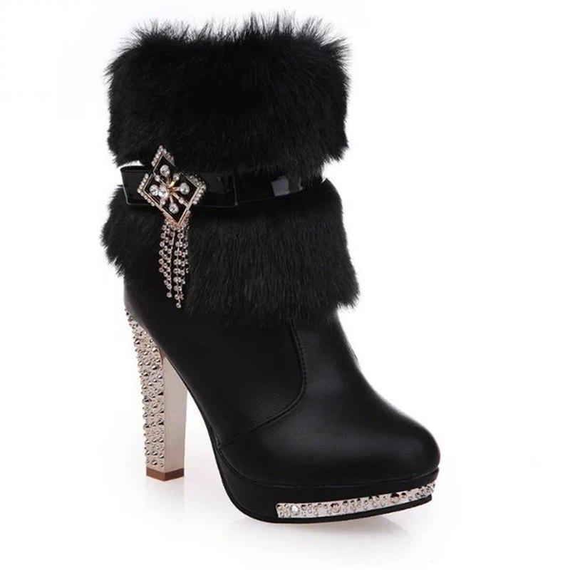 OMQ-828-1 Plus Short Tube Metal Decorative Fashion Cashmere Female Plush Diamond Thick Heeled Martin Boots от Dresslily.com INT