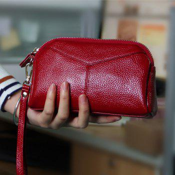 Fashion Genuine Leather Women Wallets Phone Card Holder Lady Long Clutch Purse - WINE RED