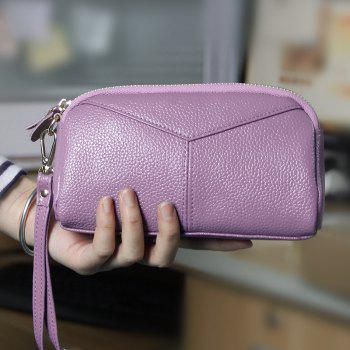 Fashion Genuine Leather Women Wallets Phone Card Holder Lady Long Clutch Purse - PURPLE