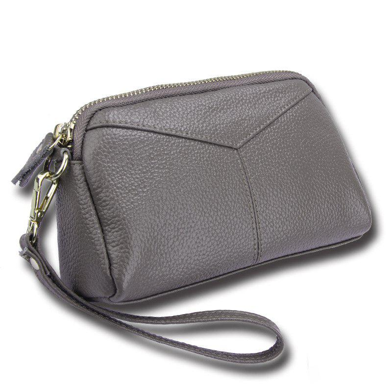 Fashion Genuine Leather Women Wallets Phone Card Holder Lady Long Clutch Purse - GRAY