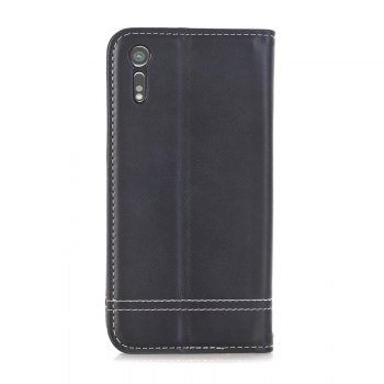 Truck Suction Line Card Lanyard Pu Leather Cover for Sony XZ - BLACK