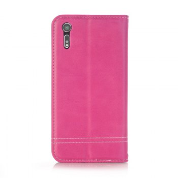Truck Suction Line Card Lanyard Pu Leather Cover for Sony XZ - ROSE RED