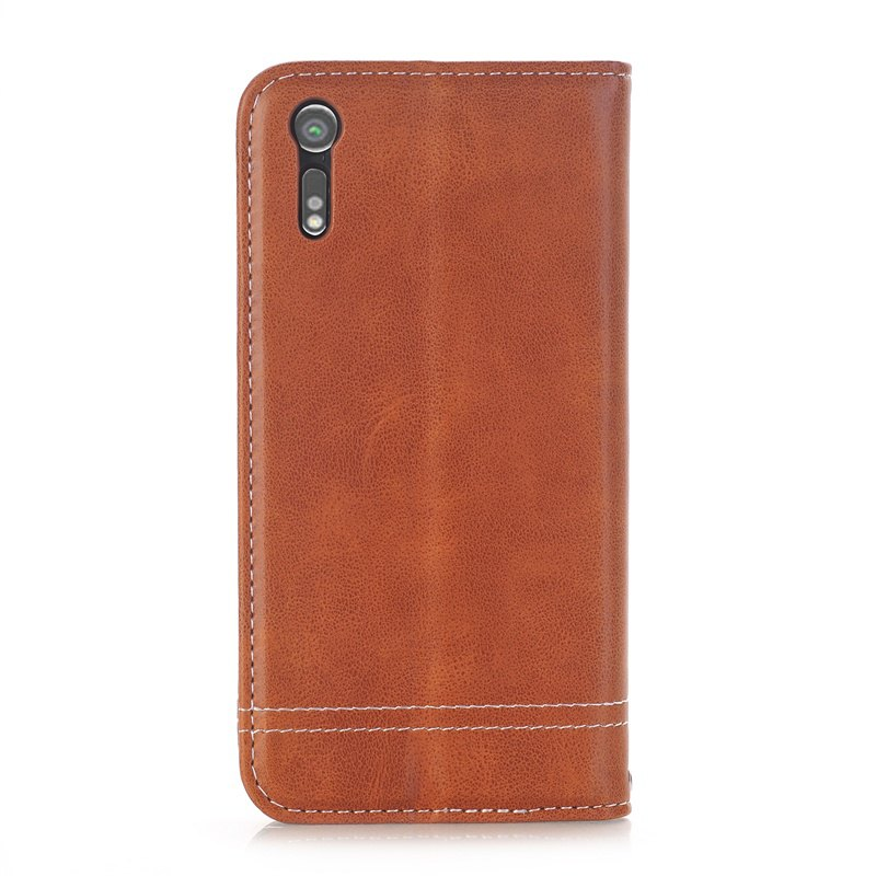 Truck Suction Line Card Lanyard Pu Leather Cover for Sony XZ - BROWN