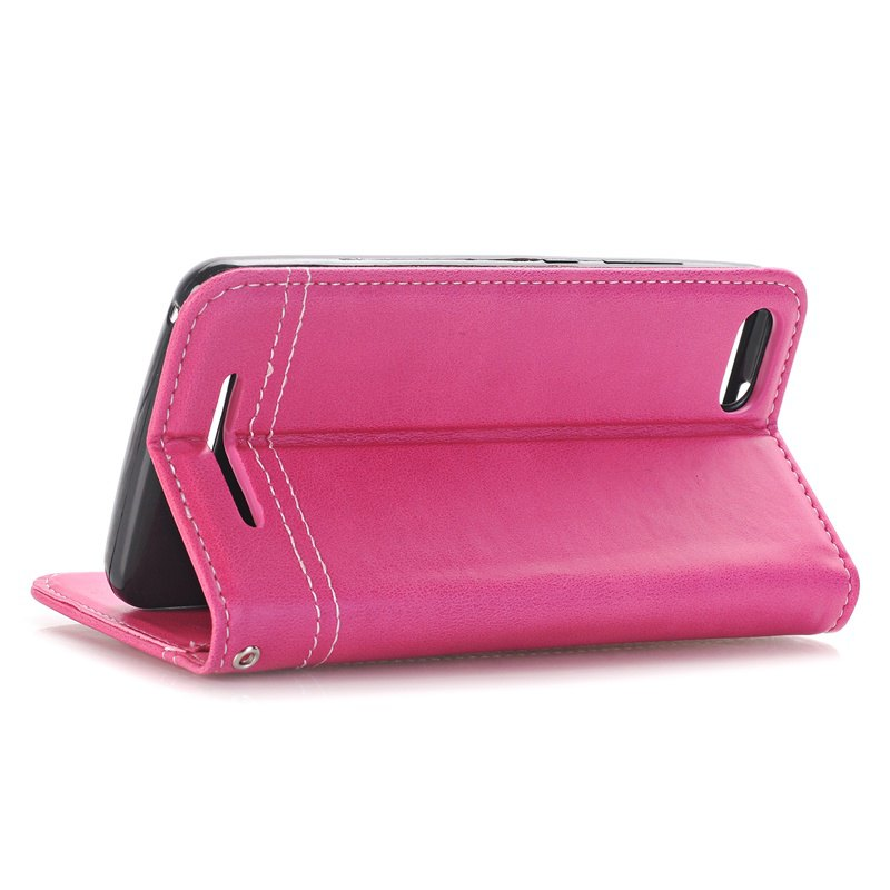 Truck Suction Line Card Lanyard Pu Leather Cover for Wiko LENNY3 - ROSE RED