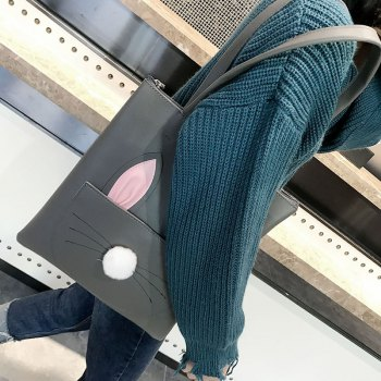Sac à bandoulière grand sac à main simple PU Shopping CY489 - Gris