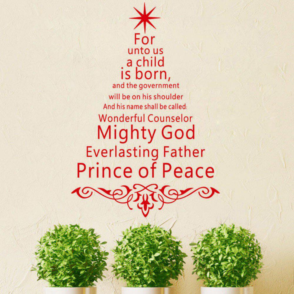 DSU JK811 English Quotes Prince of Peace Christmas Tree Art Wall Sticker цена