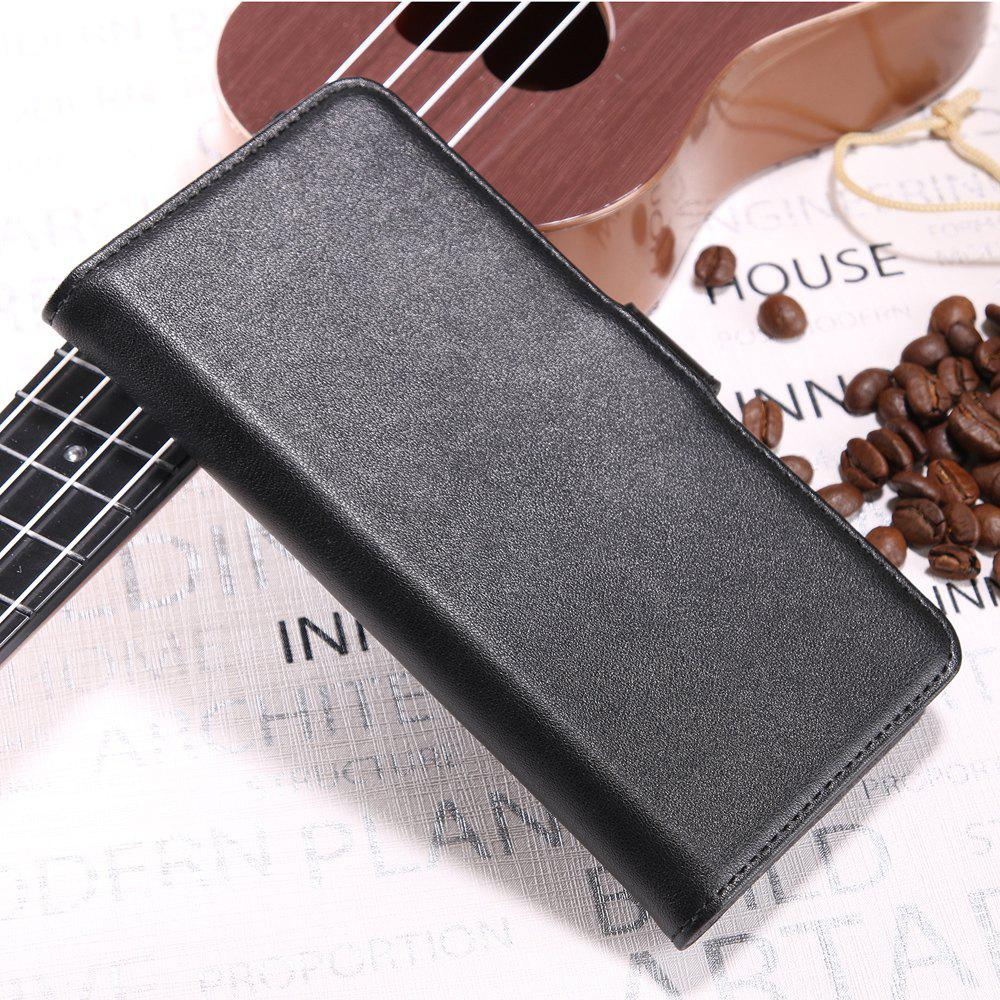 Solid Color Real Cow Leather Wallet Style Front Buckle Flip Case with Card Slots for Nokia Lumia 8 - BLACK