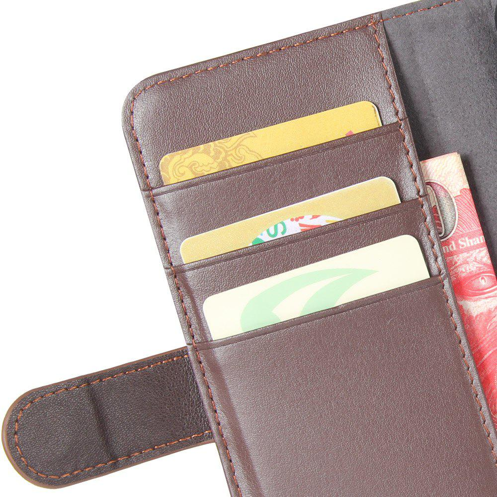 Solid Color Real Cow Leather Wallet Style Front Buckle Flip Case with Card Slots for Nokia Lumia 8 - BROWN
