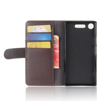 Solid Color Real Cow Leather Wallet Style Front Buckle Flip Case with Card Slots for Sony Xperia XZ1 - BROWN