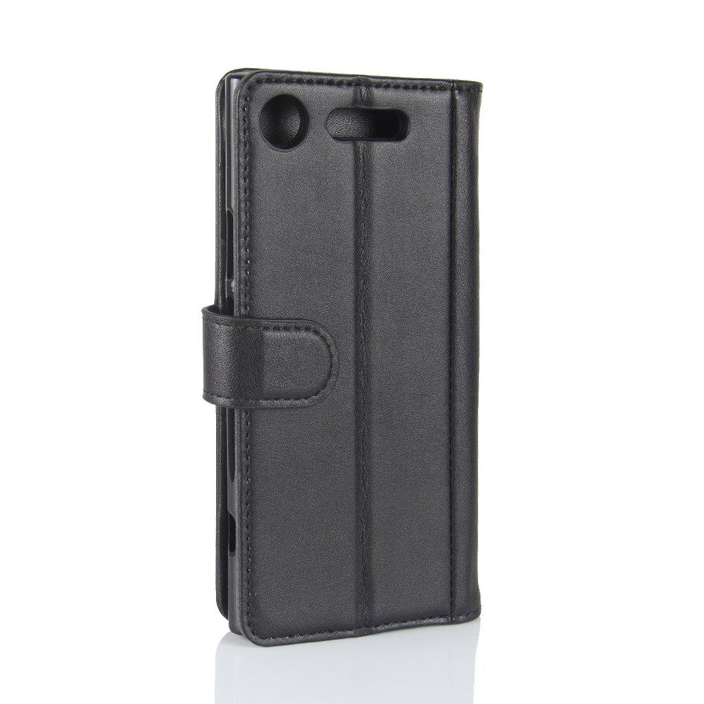 Solid Color Real Cow Leather Wallet Style Front Buckle Flip Case with Card Slots for Sony Xperia XZ1 - BLACK