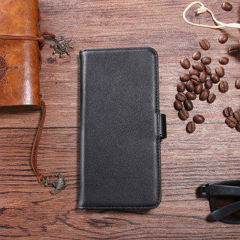 Solid Color Real Cow Leather Wallet Style Front Buckle Flip Case with Card Slots for Xiaomi Mi 5X - BLACK