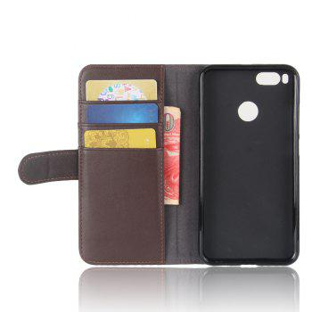 Solid Color Real Cow Leather Wallet Style Front Buckle Flip Case with Card Slots for Xiaomi Mi 5X - BROWN