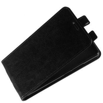 Durable Crazy Horse Pattern Up and Down Style Flip Buckle PU Leather Case for Doogee BL7000 - BLACK