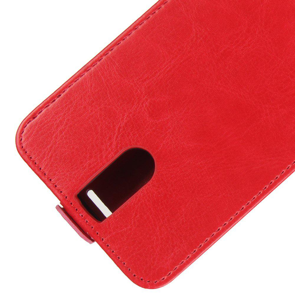 Durable Crazy Horse Pattern Up and Down Style Flip Buckle PU Leather Case for Doogee BL7000 - RED