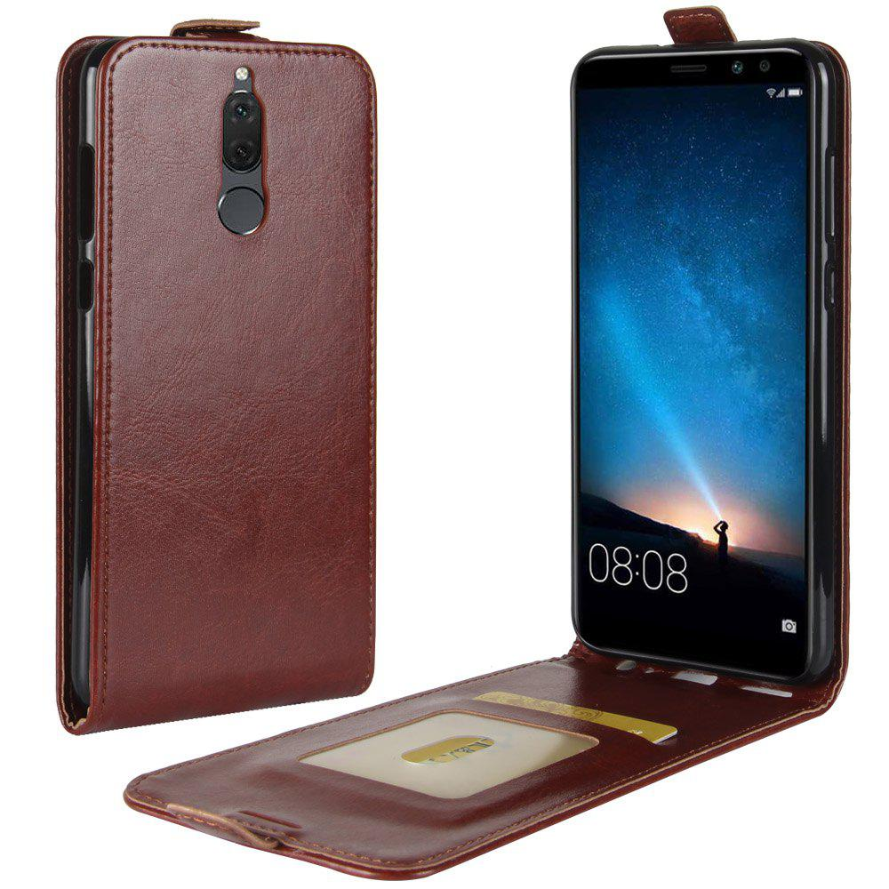 Durable Crazy Horse Pattern Up and Down Style Flip Buckle PU Leather Case for Huawei G10 - BROWN