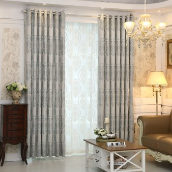 European Style Living Room Bedroom Restaurant Jacquard Curtain Set - GRAY GRAY