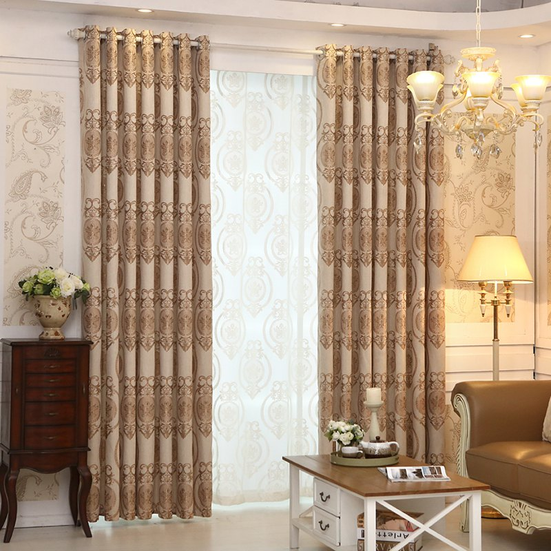 European Style Living Room Bedroom Restaurant Jacquard Curtain Set - COFFEE 2X(90W×72L)