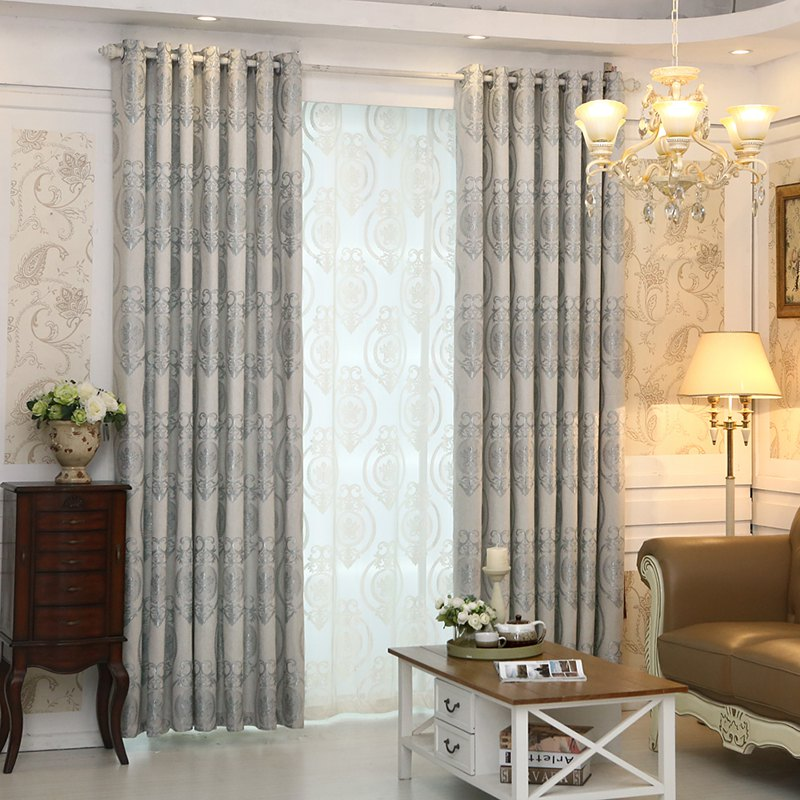 European Style Living Room Bedroom Restaurant Jacquard Curtain Set - GRAY 2X(57W×63L)