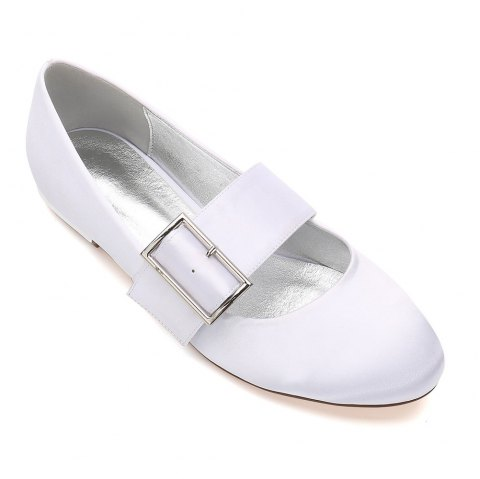 Women's Wedding Shoes Comfort Ballerina Spring Summer  Evening Buckle Ribbon Tie Flat Heel - WHITE 43