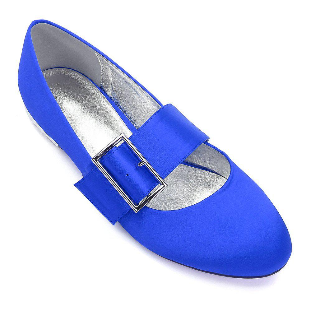 Women's Wedding Shoes Comfort Ballerina Spring Summer  Evening Buckle Ribbon Tie Flat Heel - BLUE 38
