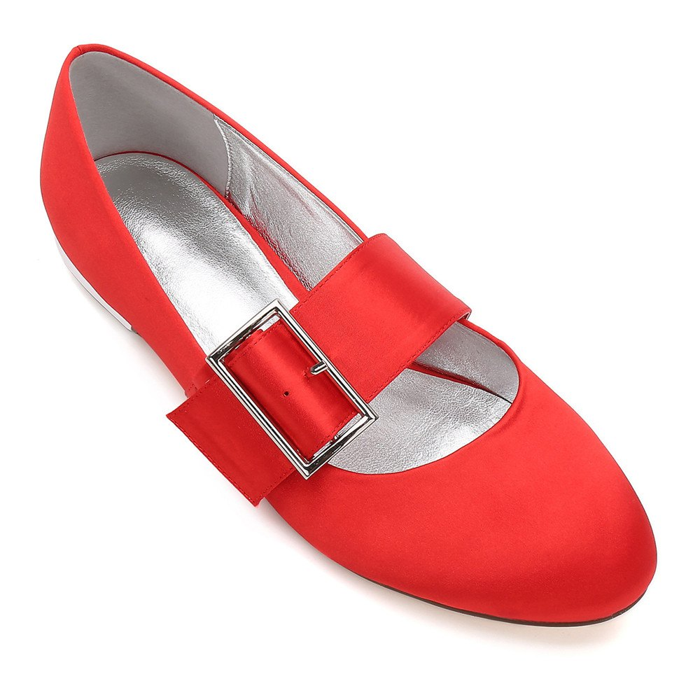 Women's Wedding Shoes Comfort Ballerina Spring Summer  Evening Buckle Ribbon Tie Flat Heel - RED 38