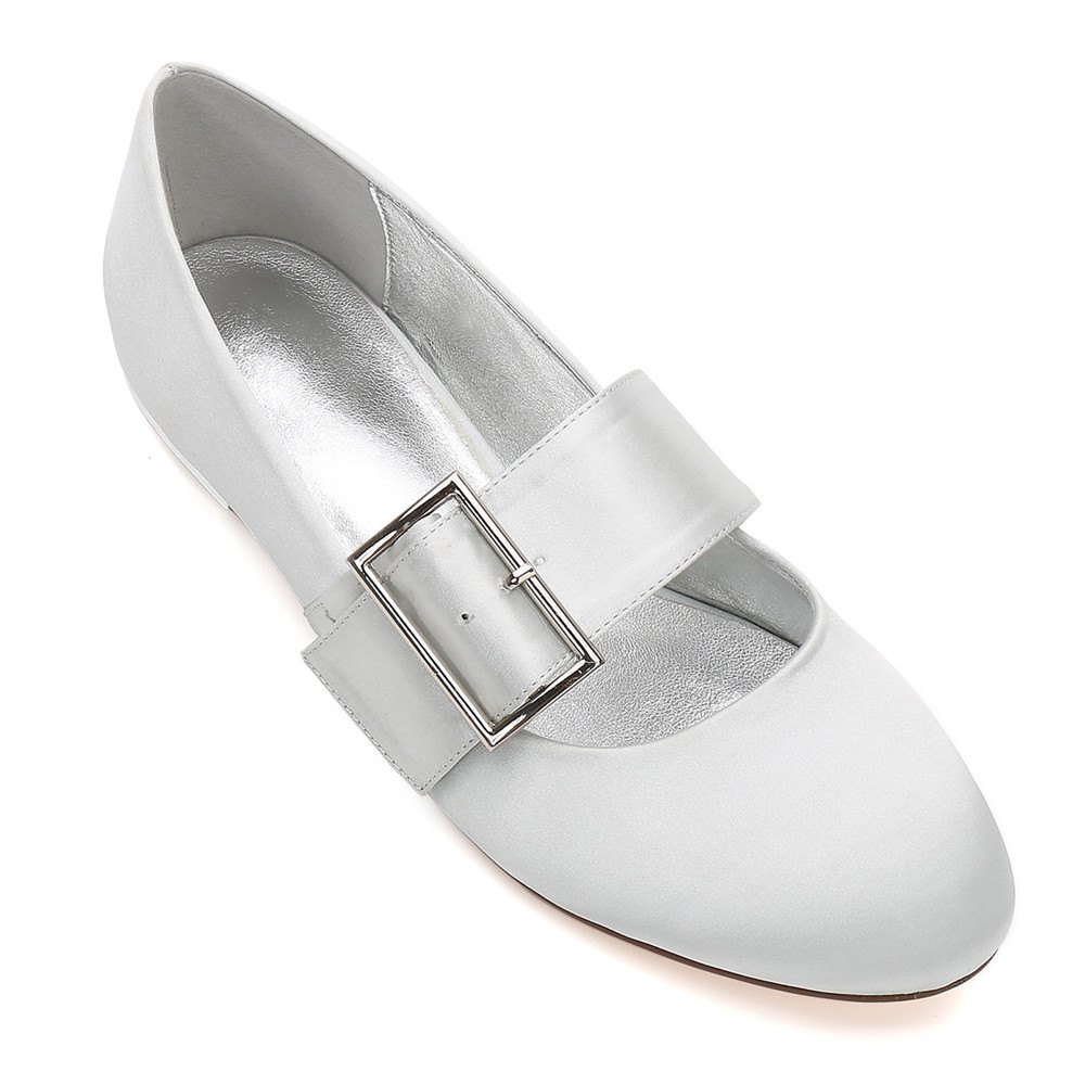 Women's Wedding Shoes Comfort Ballerina Spring Summer  Evening Buckle Ribbon Tie Flat Heel - SILVER 42