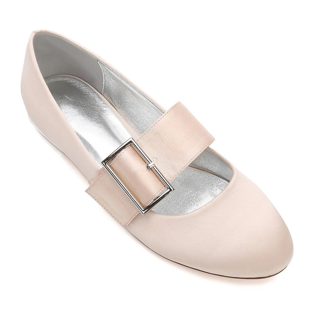 Women's Wedding Shoes Comfort Ballerina Spring Summer  Evening Buckle Ribbon Tie Flat Heel - CHAMPAGNE 38