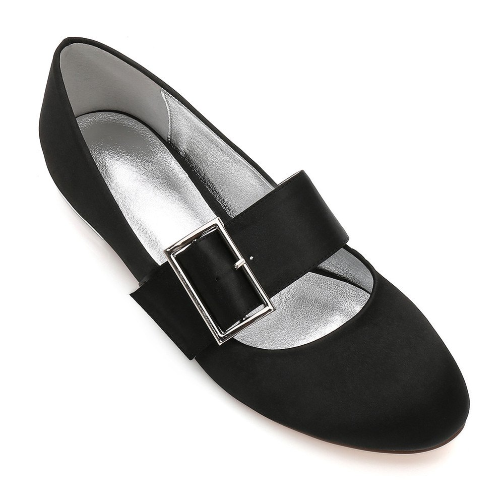 Women's Wedding Shoes Comfort Ballerina Spring Summer  Evening Buckle Ribbon Tie Flat Heel - BLACK 41