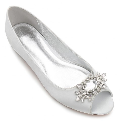 Women's Shoes Satin Spring Summer Comfort Ballerina Wedding Shoes Flat Heel Peep Toe Rhinestone Sparkling Glitter Flower For Wedding - SILVER 37