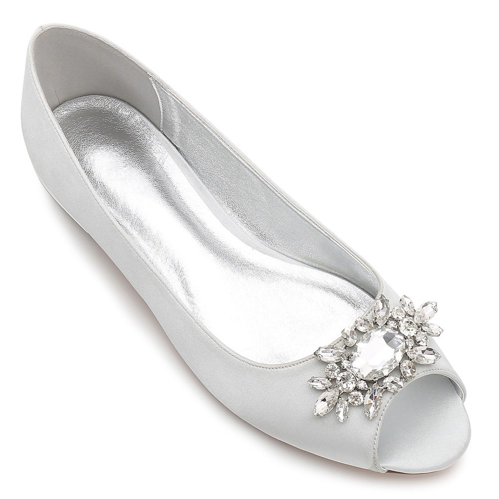 Women's Shoes Satin Spring Summer Comfort Ballerina Wedding Shoes Flat Heel Peep Toe Rhinestone Sparkling Glitter Flower For Wedding - SILVER 38