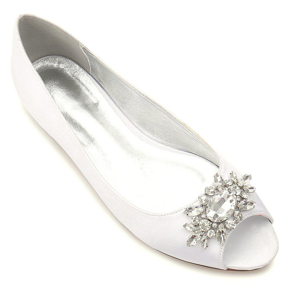 Women's Shoes Satin Spring Summer Comfort Ballerina Wedding Shoes Flat Heel Peep Toe Rhinestone Sparkling Glitter Flower For Wedding - IVORY WHITE 36