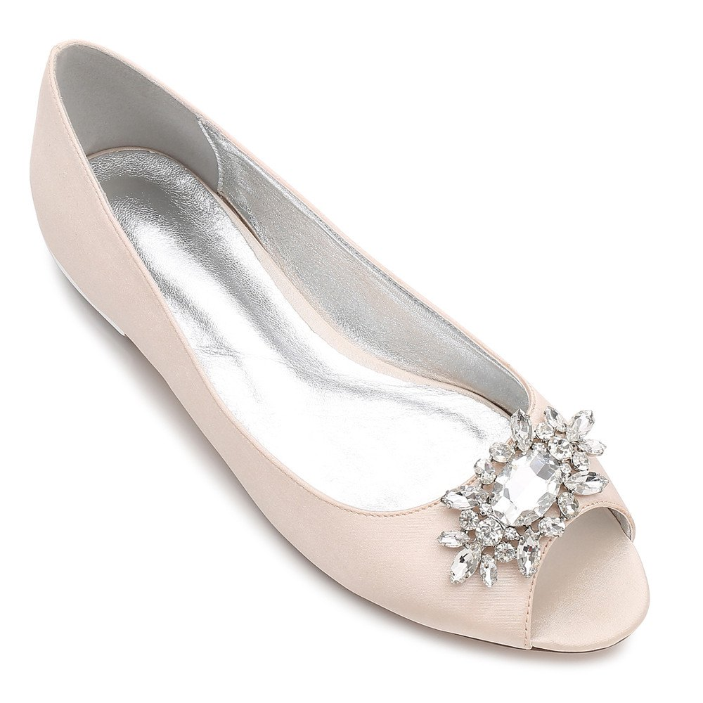 Women's Shoes Satin Spring Summer Comfort Ballerina Wedding Shoes Flat Heel Peep Toe Rhinestone Sparkling Glitter Flower For Wedding - CHAMPAGNE 39
