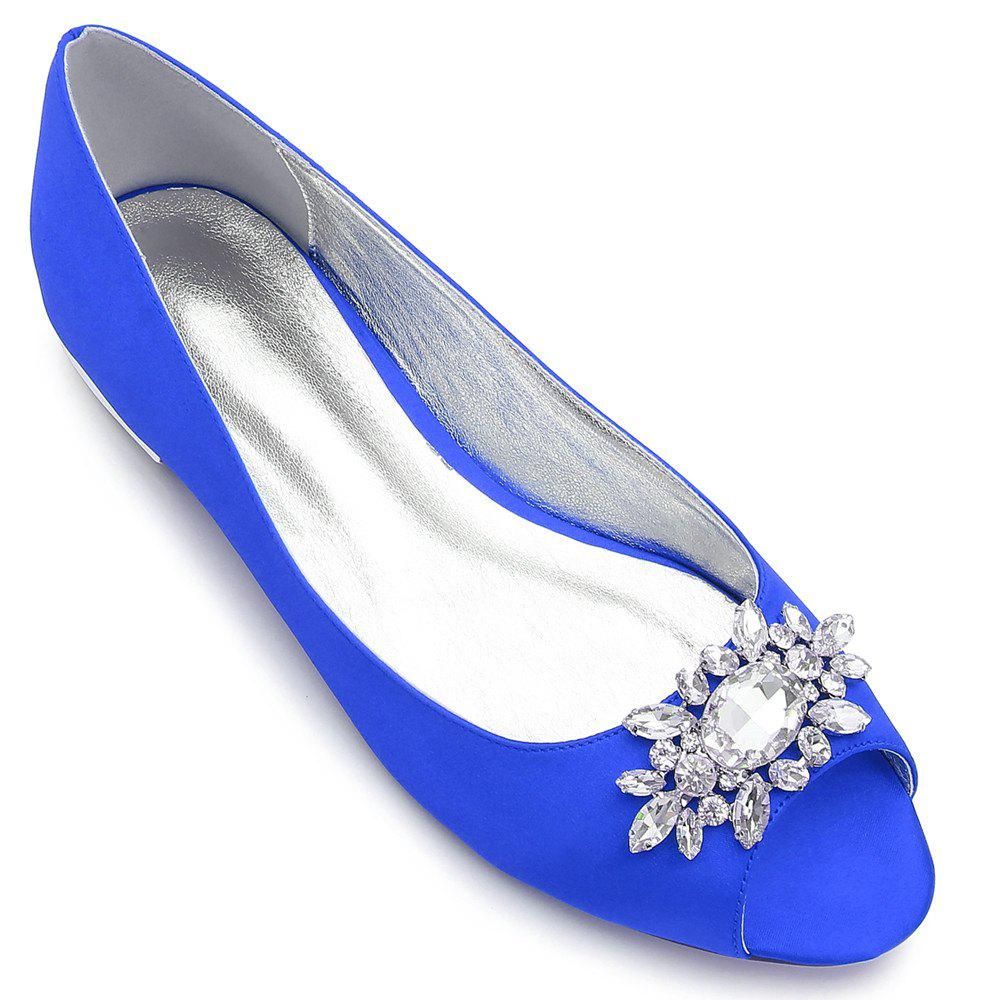 Women's Shoes Satin Spring Summer Comfort Ballerina Wedding Shoes Flat Heel Peep Toe Rhinestone Sparkling Glitter Flower For Wedding - BLUE 38