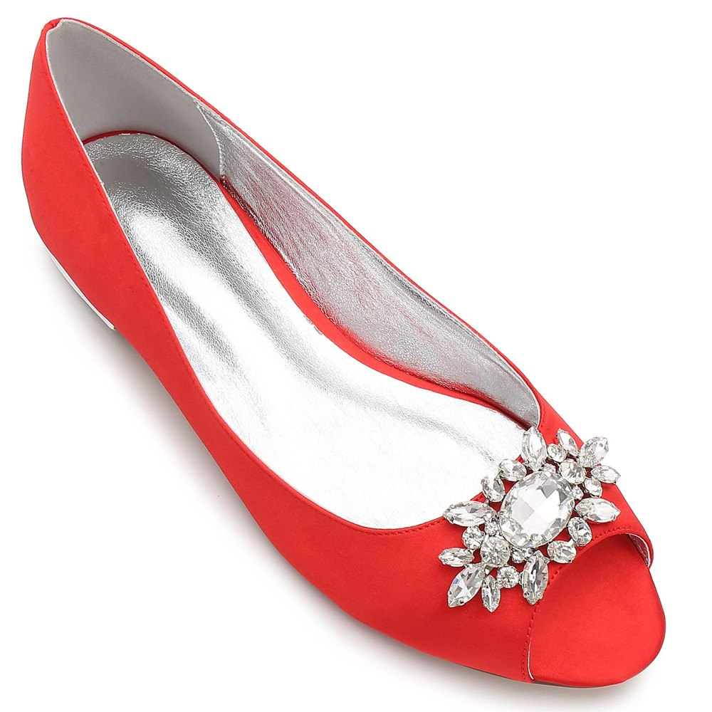 Women's Shoes Satin Spring Summer Comfort Ballerina Wedding Shoes Flat Heel Peep Toe Rhinestone Sparkling Glitter Flower For Wedding - RED 37