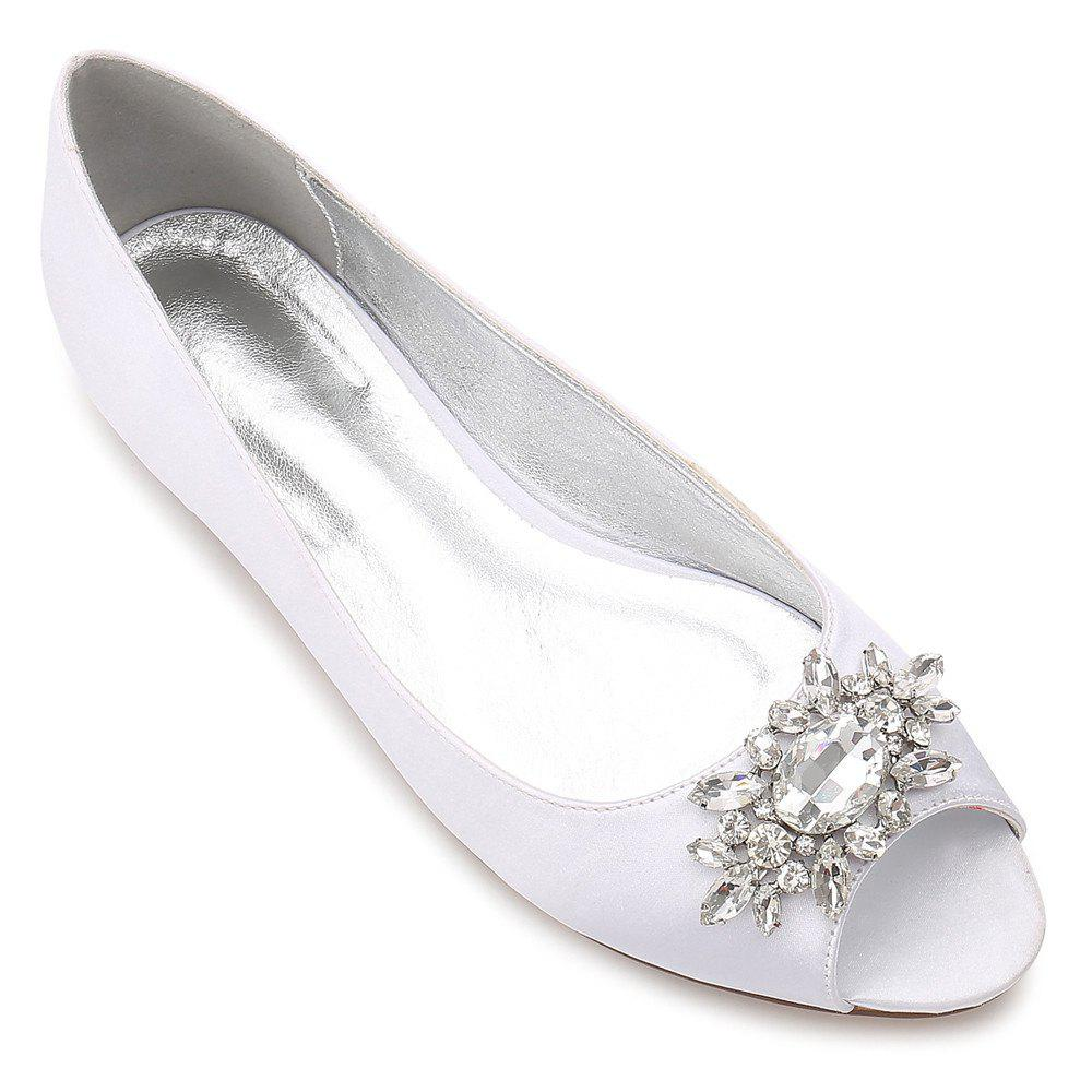 Women's Shoes Satin Spring Summer Comfort Ballerina Wedding Shoes Flat Heel Peep Toe Rhinestone Sparkling Glitter Flower For Wedding - WHITE 38