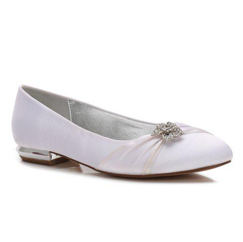 Women's Shoes Satin Spring Summer Comfort Ballerina Wedding Shoes Flat Heel Round Toe Rhinestone Bowknot Applique Satin Flower Sparkling - WHITE 40
