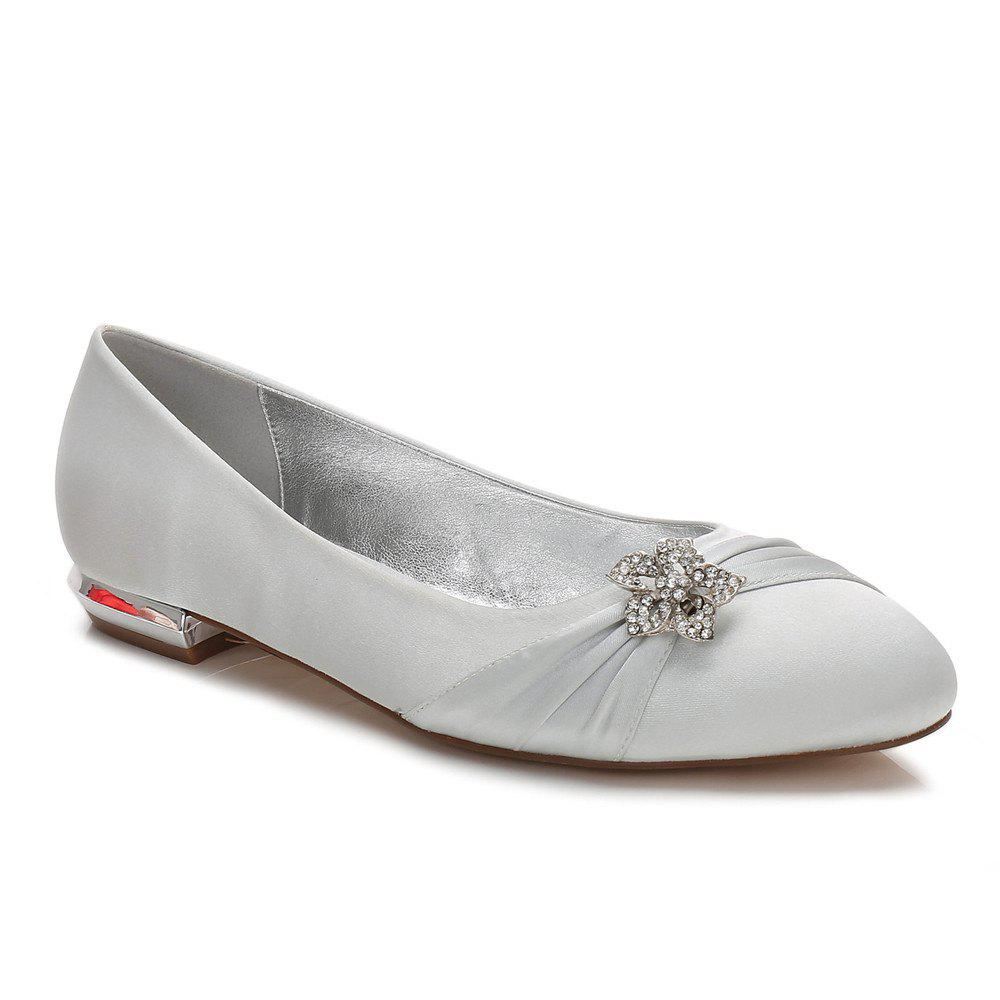 Women's Shoes Satin Spring Summer Comfort Ballerina Wedding Shoes Flat Heel Round Toe Rhinestone Bowknot Applique Satin Flower Sparkling - SILVER 38
