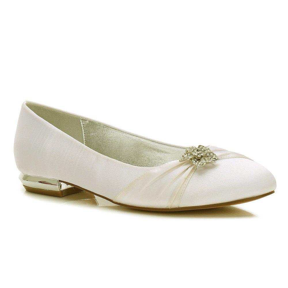 Women's Shoes Satin Spring Summer Comfort Ballerina Wedding Shoes Flat Heel Round Toe Rhinestone Bowknot Applique Satin Flower Sparkling - IVORY WHITE 40